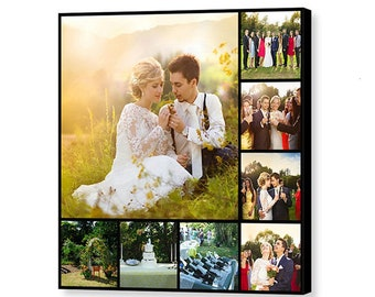Custom Wedding Photo Collage - 16x16 Giclée Print on Canvas - Collage Using 8 of Your Favorite Wedding Photos - Personalized Wedding Gift