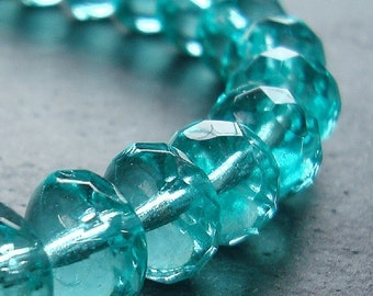 Czech Glass Beads 9 x 5mm Teal Green Faceted Rondelles - 12 Pieces