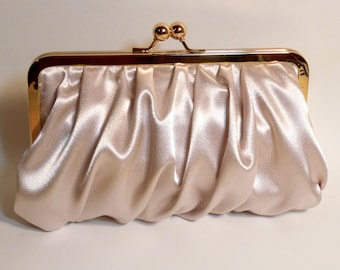 Bridal Clutch or Bridesmaid Clutch Champagne Gathered Satin
