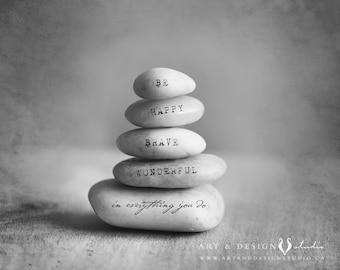 Zen Minimalism Art, Yoga Print, Zen Artwork, Stacking Stones with Inspirational Words, Gratitude Stone, Be Happy, Happiness Quote Art Print