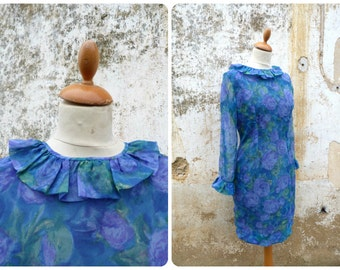Vintage 1960/60s  French blue floral couture dress with frous frous at the neckline size S