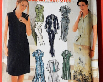 Simplicity 7162 Design your own shirt dress, shirt, skirt and pants pattern Uncut Sizes 6, 8, 10 and 12