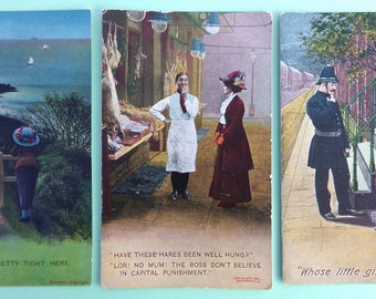 Pack of 3 Antique / Vintage Comedy / Risqué Postcards to use for Card Making, Scrapbooking, Art Journals and Paper Crafts, Bamforth & Co