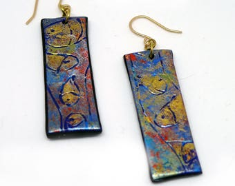 "Dainty Fish ""Sticks"" Polymer Earrings, Joy to the Fishes in the Deep Blue Sea, Light as Air. Worldwide Shippiong."