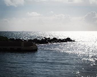 Blue Serene Ocean Photograph Setting Sun 'Evenfall' by Jean Macaluso