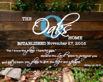 Name/Established with Jeremiah 29:11 Large, Wood Sign, Scripture Wood Sign, Reclaimed Wood Sign, Custom Sign
