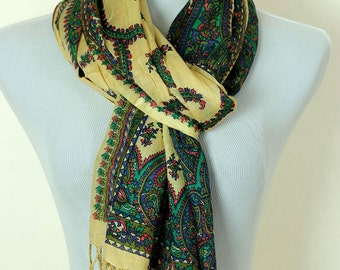 Floral Paisley Scarf (Green & Gold)