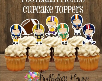 Football Party - Set of 12 Double Sided Assorted Football Player Cupcake Toppers by The Birthday House