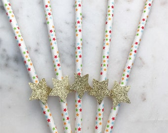 Star Party Straws. Birthday Straws. Party Straws. Paper Straws. Drinking Straws. Wedding Straws. Stars. Multi-Coloured Straws.