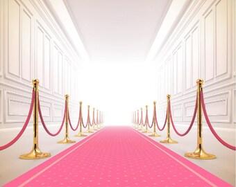Pink carpet Vinyl Backdrop,Photography birthday party background photo prop XT-5535
