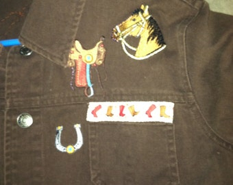 Cowboy themed Chocolate brown jean jacket