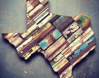 "Texas in a Mosaic Wood Pattern 32""H"