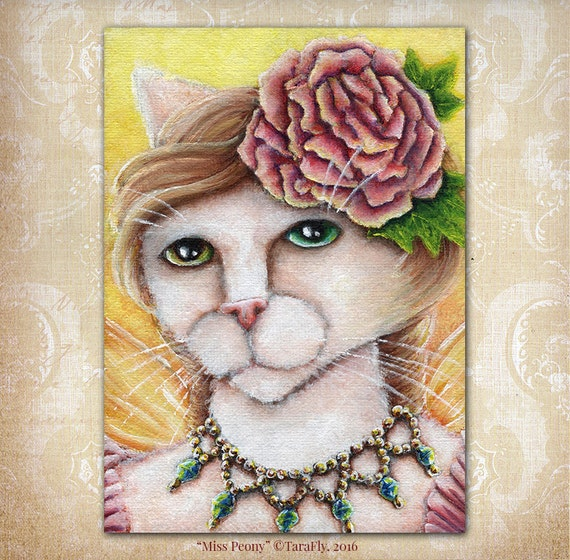 Peony Fairy Cat 5x7 Fine Art Print
