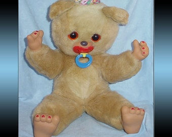Vintage Plush Teddy Bear with Pacifier Stuffed Animal 18 inches