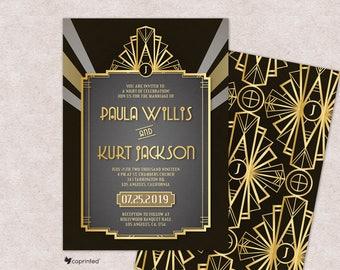 Art Deco Wedding invitations, 1920s, Hollywood Glam, Old Hollywood, Great Gatsby Theme, Retro, Vintage, Glamour, Classy, RSVP, Menu, Golden