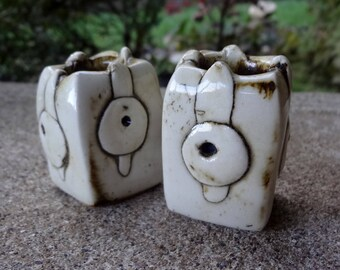 Pottery Candle Holders // Horn Marking // Earthy Home Decor