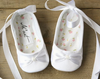 WHITE or IVORY satin baby shoes, white ballerina shoes, wedding blessing baptism shoes, infant slippers.