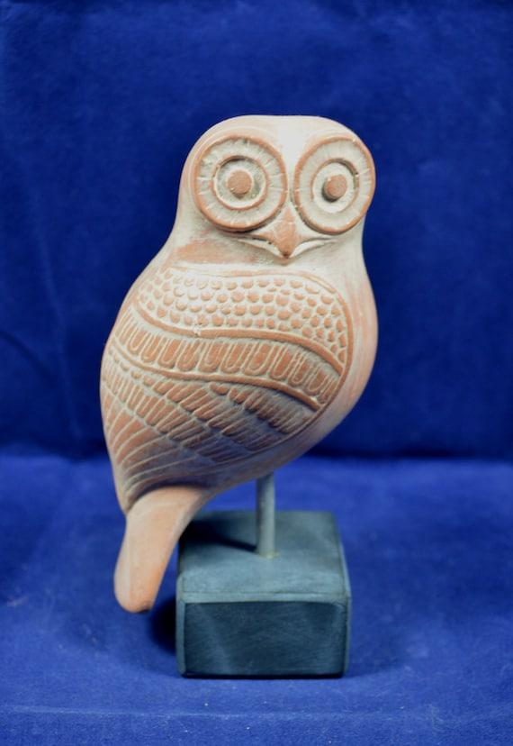Owl Sculpture ancient Greek symbol of knowledge ceramic statue
