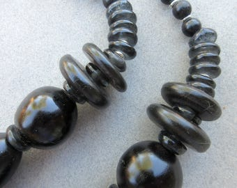 African Black Copal Beads