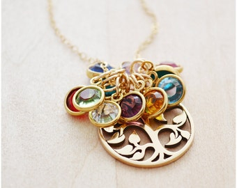 Tree of Life Necklace - Birthstone Necklace - Mother's Day Jewelry - Grandma Necklace - Gold Grandma Jewelry - Swarovski Crystal