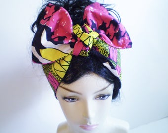 Small Pink Yellow African Head Scarf, Yellow Pink African Head Wrap, Reversible African Pink and Yellow Head Scarf