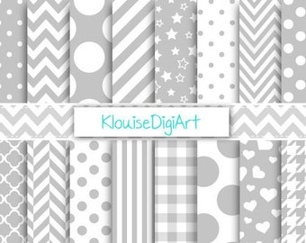 Light Gray and White Digital Printable Papers for Personal and Small Commercial Use (0051)