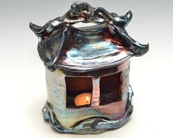 Tiny Home Tea Light Holder Lantern House or Hermitage in Bright Blue and Copper Raku Ceramics