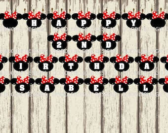 PDF File - Red Minnie Mouse Banner, Create Your Own Banner, Happy Birthday Banner, Baby Shower Banner, Graduation Banner, Add Your Own Name