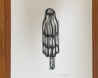 Replica Bomb Pop Handmade Linocut Print