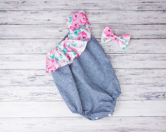 Floral and Denim One Shoulder Ruffle Baby Romper- Pink Floral romper, denim ruffle romper, chambray romper, pink and mint floral