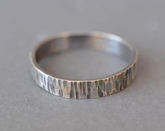 Wood Grain Ring- tree bark ring, wide band ring, rustic wedding band, mens silver ring, silver wedding band, mens wedding band textured ring