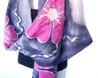 "Hand Painted Silk Scarf, Medium Gray Anthracite Dusty Pink, Floral Silk Scarf, 71"" x 18"", Gift Under 50"