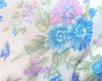 Blue and Purple Flowers Polyester Blend Fabric off the bolt / 1 yard and 34 inches / Supply / Sewing Supplies
