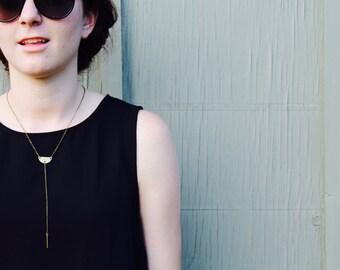 The Tyrah // Contemporary Lariat Brass Semi Circle Necklace