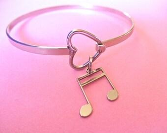 Music note stainless steel heart bracelet