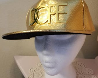 Gold snakeskin DOPE hat like new snapback hip hop dancer trendy