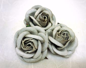 5 pcs. 50 mm /2 inches large silver gray mulberry roses - paper flowers #172