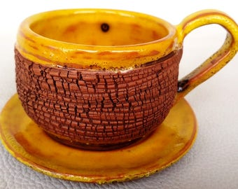 Cup with saucer Pottery cup Coffee cup Yellow cup Half cup Espresso cup Tea cup Everyday cup Gift for kitchen Home gift Handmade cup