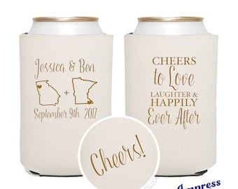 Custom Can Coolers, Wedding Favors Reception Favors Guests Personalized • Cheers to Love Laughter and Happily Ever After Can Coolers IM18