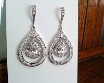 Crystal Earrings with CZ Teardrop, Wedding Jewelry, Dangle Earrings, Cubic Zirconia Earrings, Bridal earrings