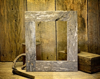 8x10 Rustic Barn Wood picture frame from reclaimed barn. One of a kind picture frame perfect for family, or wedding photos.