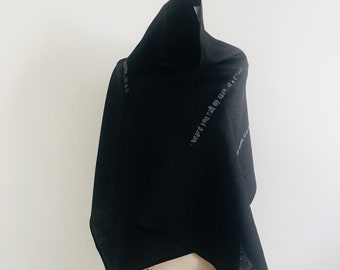 Noir Linen Scarf, poetry, spring summer accessories, black scarves, edgy, artlab, gifts