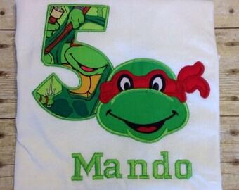 Personalized embroidered Teenage Mutant Ninja Turtles 'TMNT 'birthday shirt