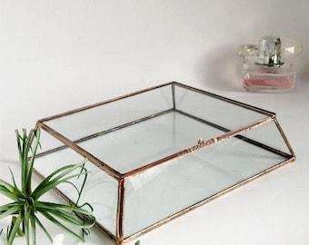 Glas-Box Display Box Glas Hochzeit Karte Dose Klarglas abgeschnitten Pyramide Box
