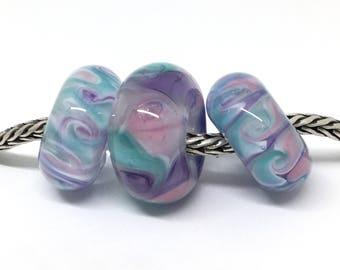 Handmade Glass Beads/3 Big Hole Charm Beads/Pink, Purple and Teal Handmade Glass Lampwork Beads