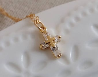 Gold Cross Necklace, Crystal Cross Necklace, Tiny Cross Pendant, Tiny Cross Charm, Dainty Delicate Everyday Minimalist, Layering Necklace