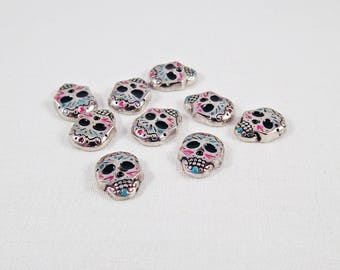 ICI17 - Set of 4 small charms skull patterned Tribal Totem to paste or to insert Charms Flottants coaster