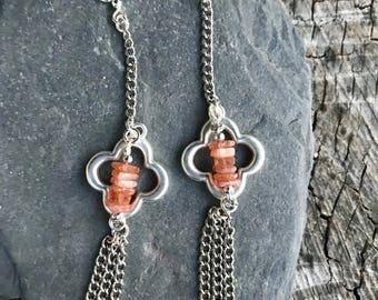 Clover and sunstone earrings.