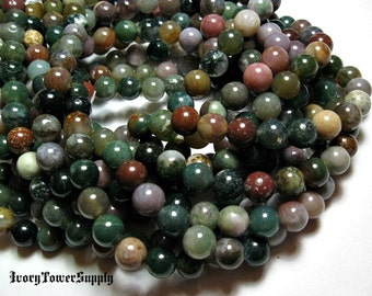 1 Strand 8mm Indian Agate Beads, Natural Gemstone Beads, Multi Color Beads, Round Gemstone Beads