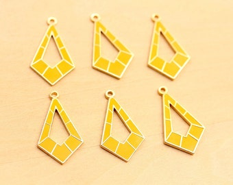 Geometric Drop Charms, Yellow Charms, Enamel Charms, Drop Charms (6x)